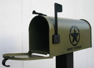 Image of Army Green Military Themed Mailbox by TheBusBox Vet Veteran Matte Navy Coast Guard Marines Air Force