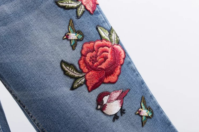 Image of Rose embroidered denim trousers