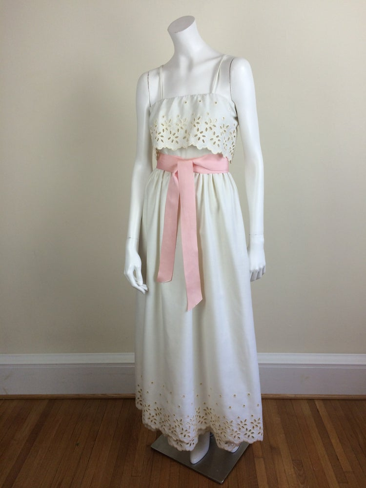 Image of Harold Levine ivory white formal maxi dress w/ eyelet cutwork & pockets 70's