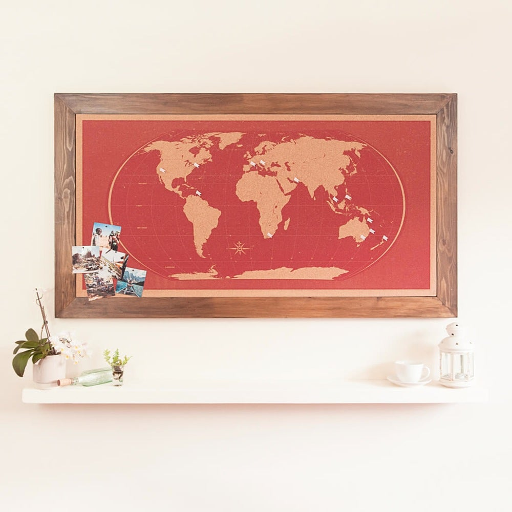 Hand Made Hand Printed World Map Pinboards Classic Red World Map