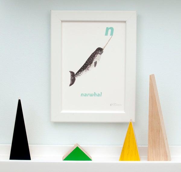 Image of N - Narwhal Letter Print