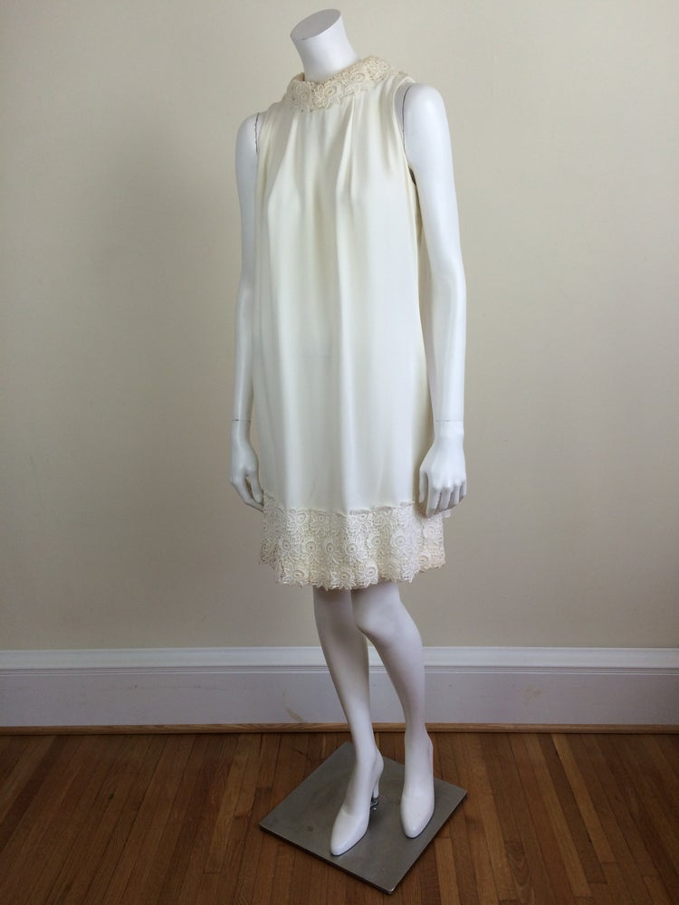 Image of ivory white chiffon mod minidress w/ chiffon cape & lace trim bridal 60s