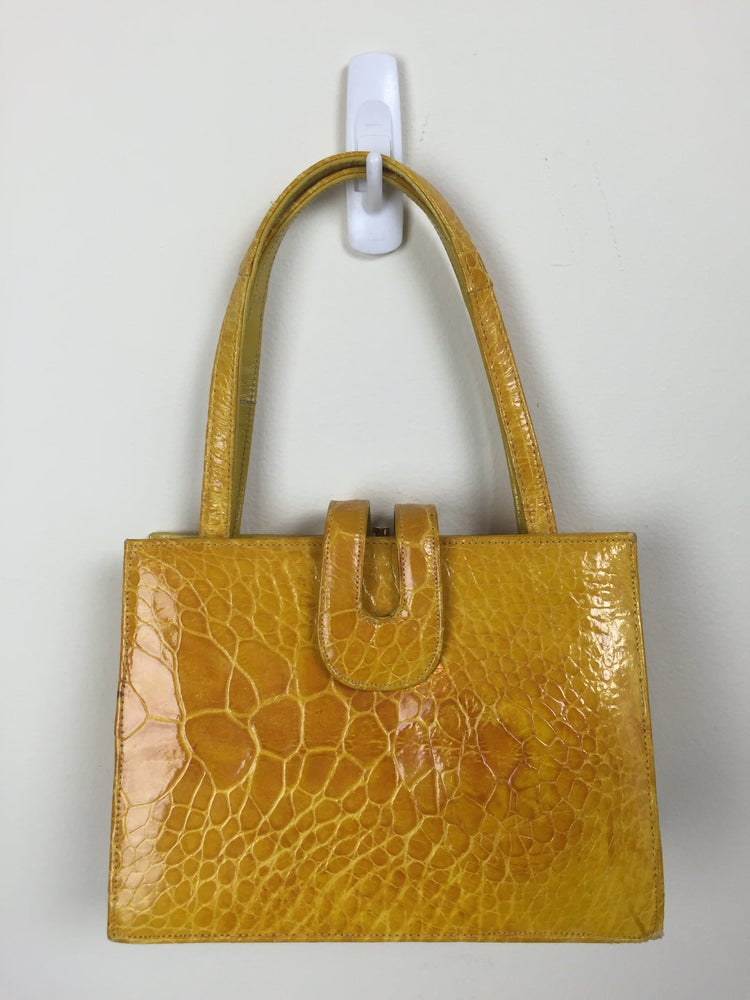 Image of golden yellow Bellstone reptile skin structured handbag 60s