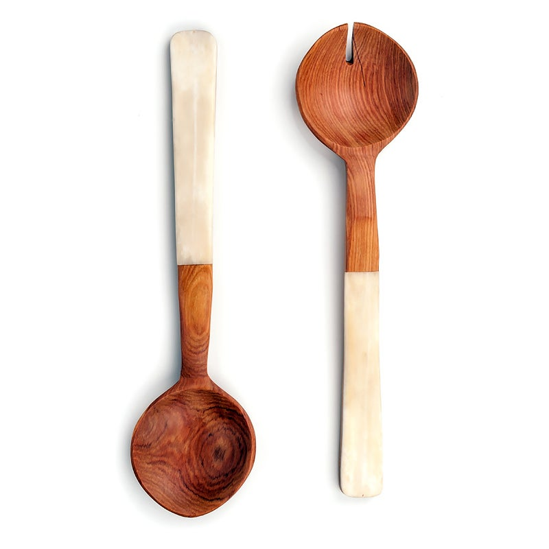 Image of Olive Wood and White Bone Servers