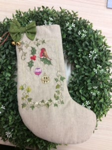 Image of The Robins Bell Christmas Stocking