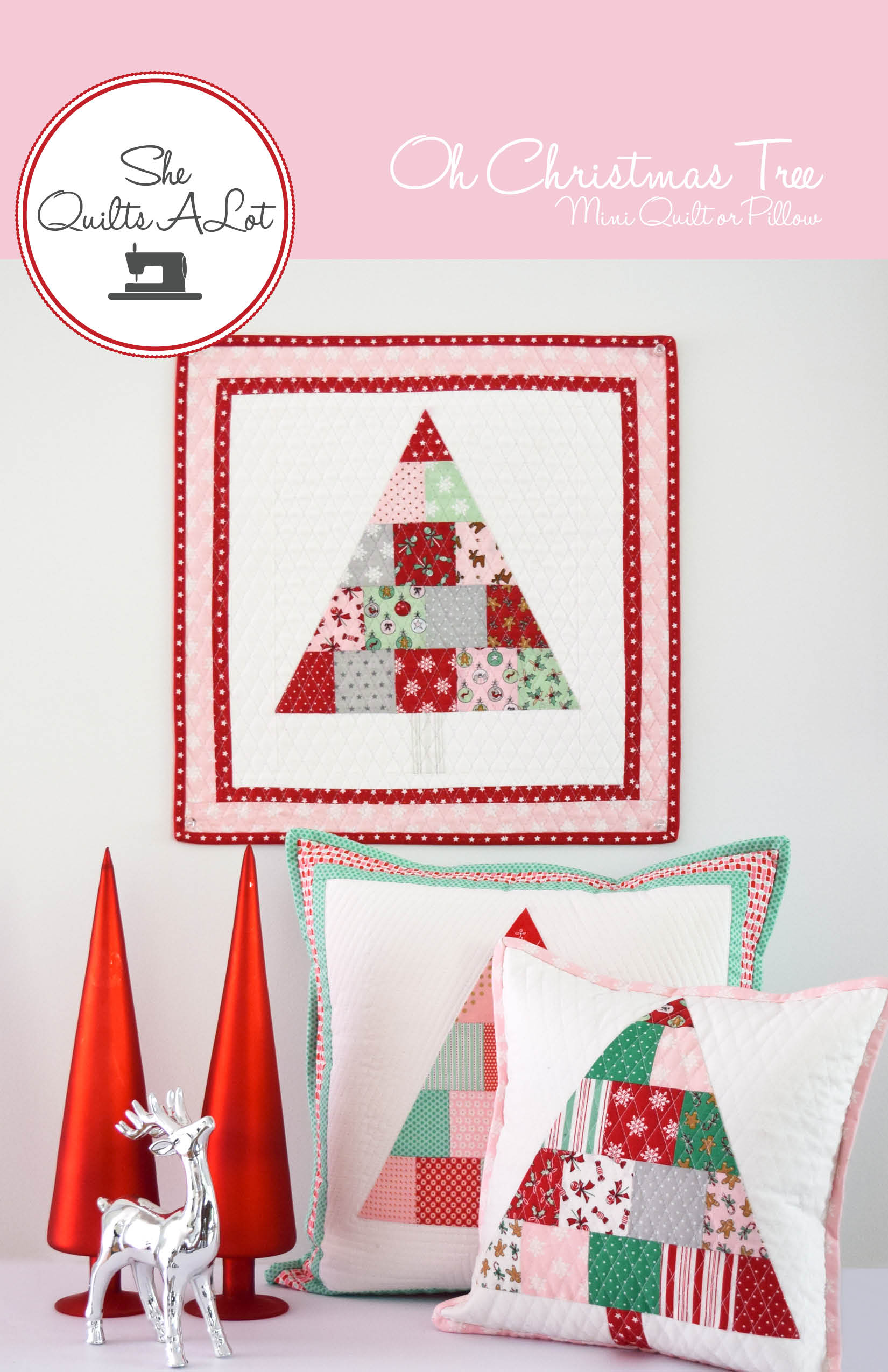 Christmas Tree Mini Quilt & Pillow PDF Pattern | She Quilts Alot