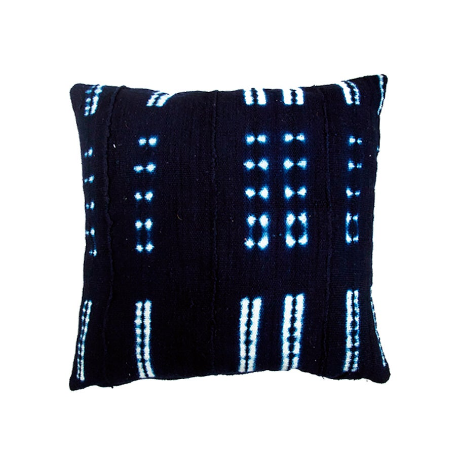 Image of Indigo Mud Cloth Pillow no. 08