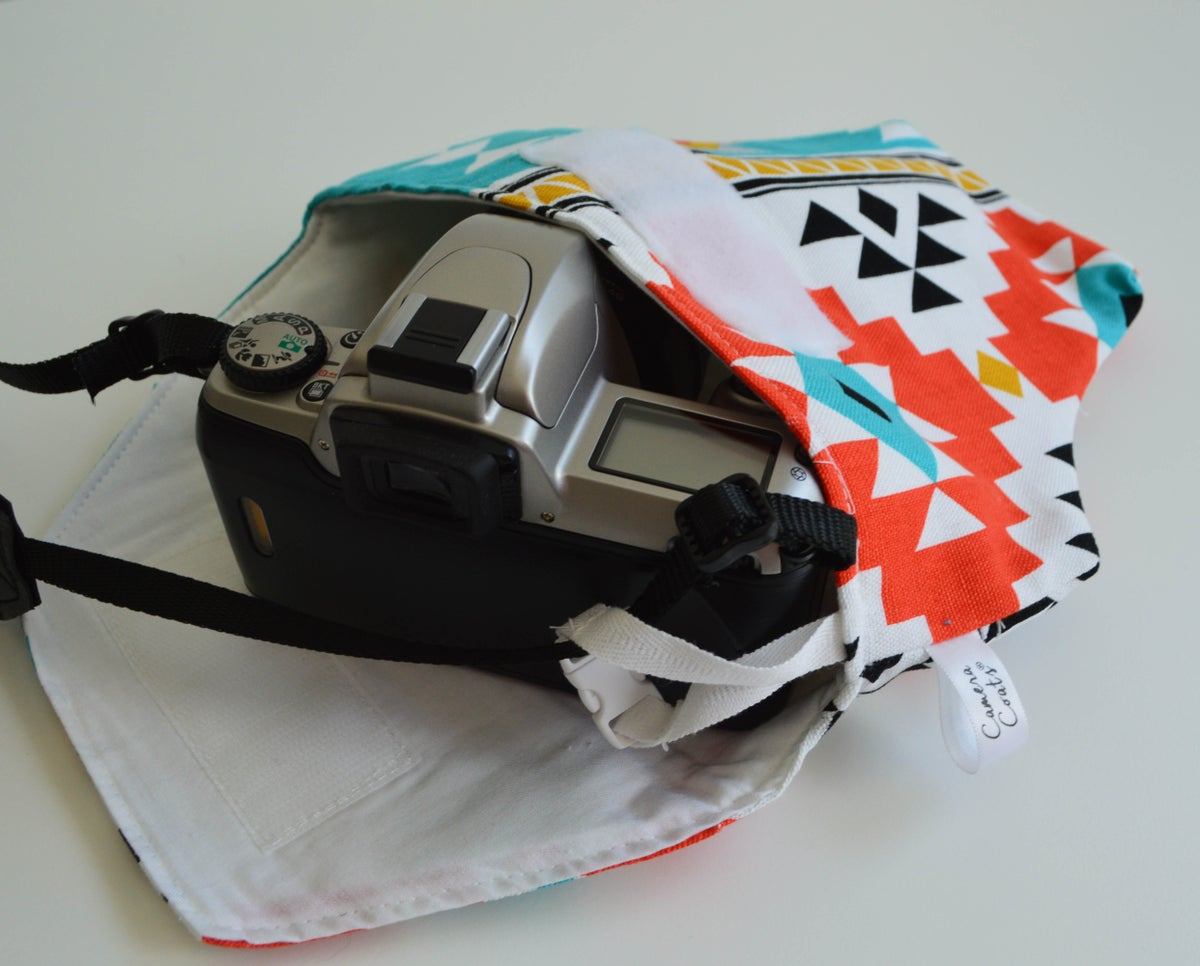 Image of Camera Bag for Travel Aztec Turquoise and Red Cotton Camera Case by Camera Coats