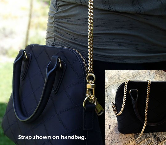 "Image of GOLD Chain Bag Strap - NEW Classy Curb Diamond Cut Chain - 3/8"" Wide - Choose Length & Hooks/Clasps"