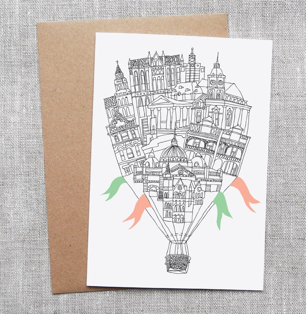 Sneaky Fox Graphics Illustrated Greeting Card Balloon