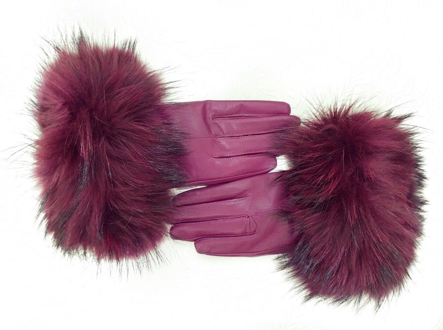 Image of Moscow Leather Raccoon Fur Gloves