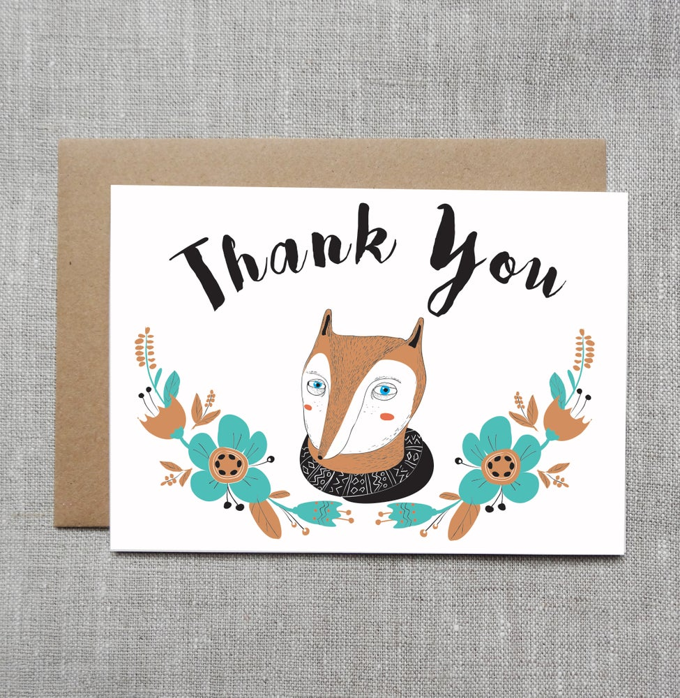 Sneaky fox graphics illustrated greeting card thank you image of illustrated greeting card thank m4hsunfo