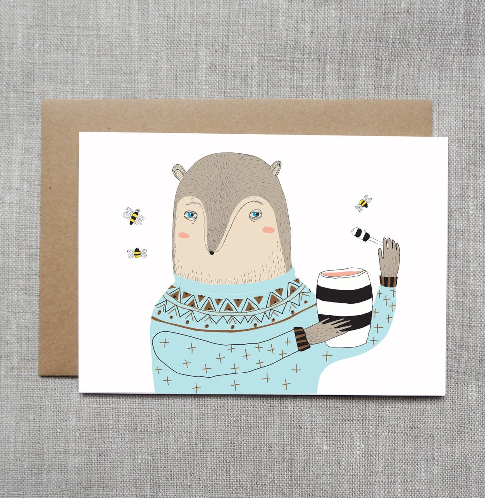 Sneaky Fox Graphics Illustrated Greeting Card Bear