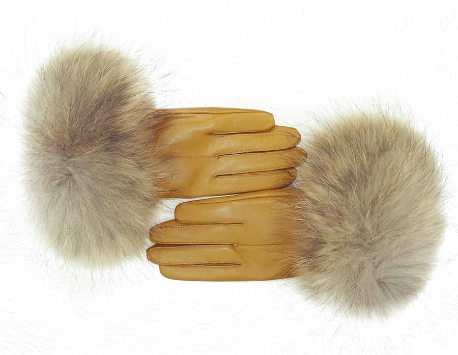 Image of Quebec Leather Raccoon Fur Gloves