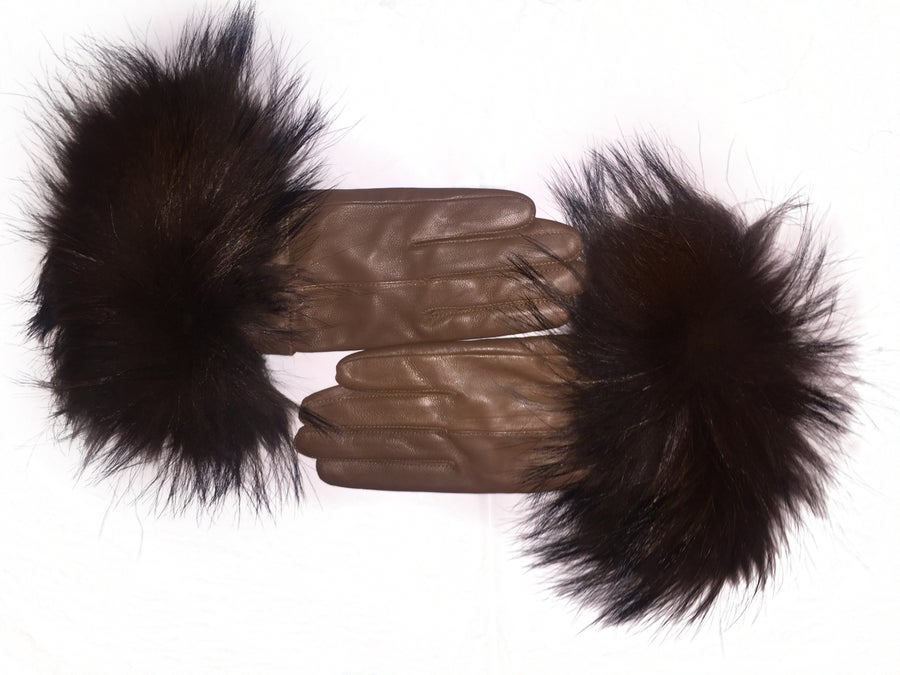 Image of Austria Leather Raccoon Fur Gloves