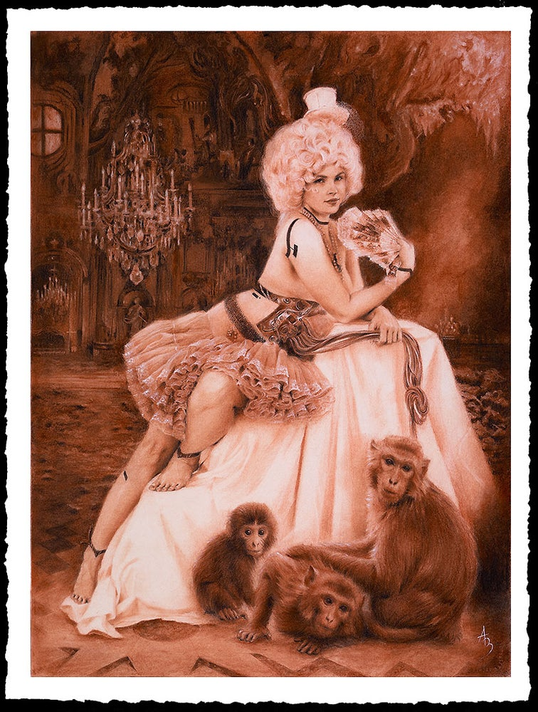 Image of Alexandra Manukyan 'Evolution with Red Monkeys'  Giclée Fine Art Print