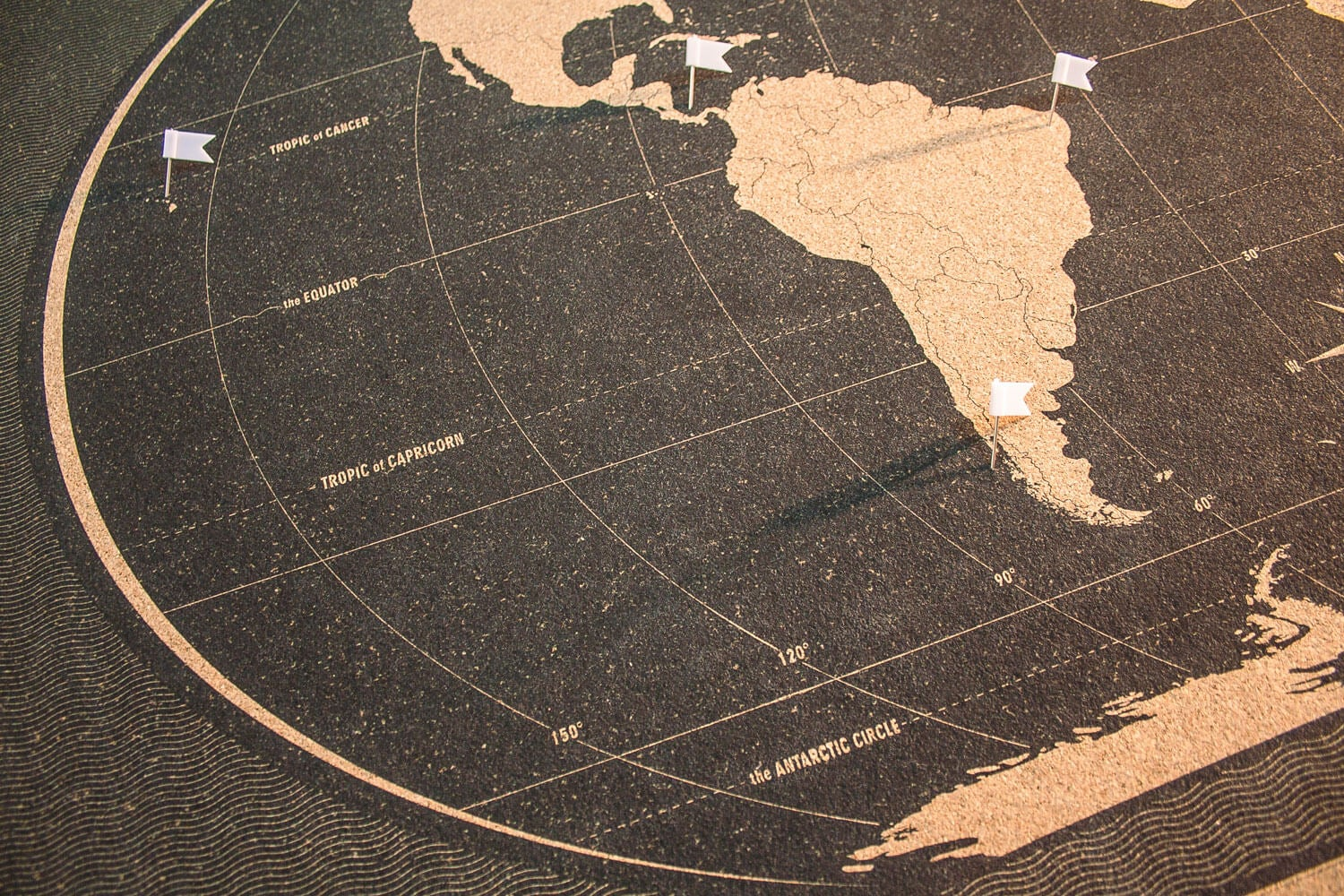 Image of Classic Black on Black World Map