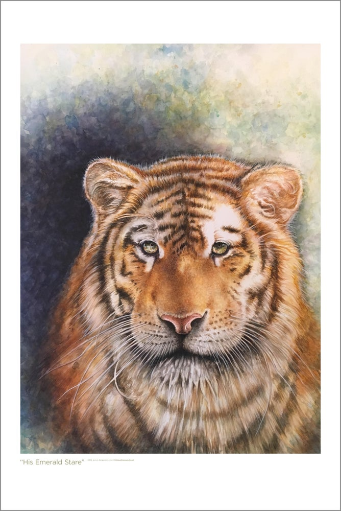 "Image of ""His Emerald Stare"" Watercolor Tiger - LIMITED EDITION 24x36 Print"