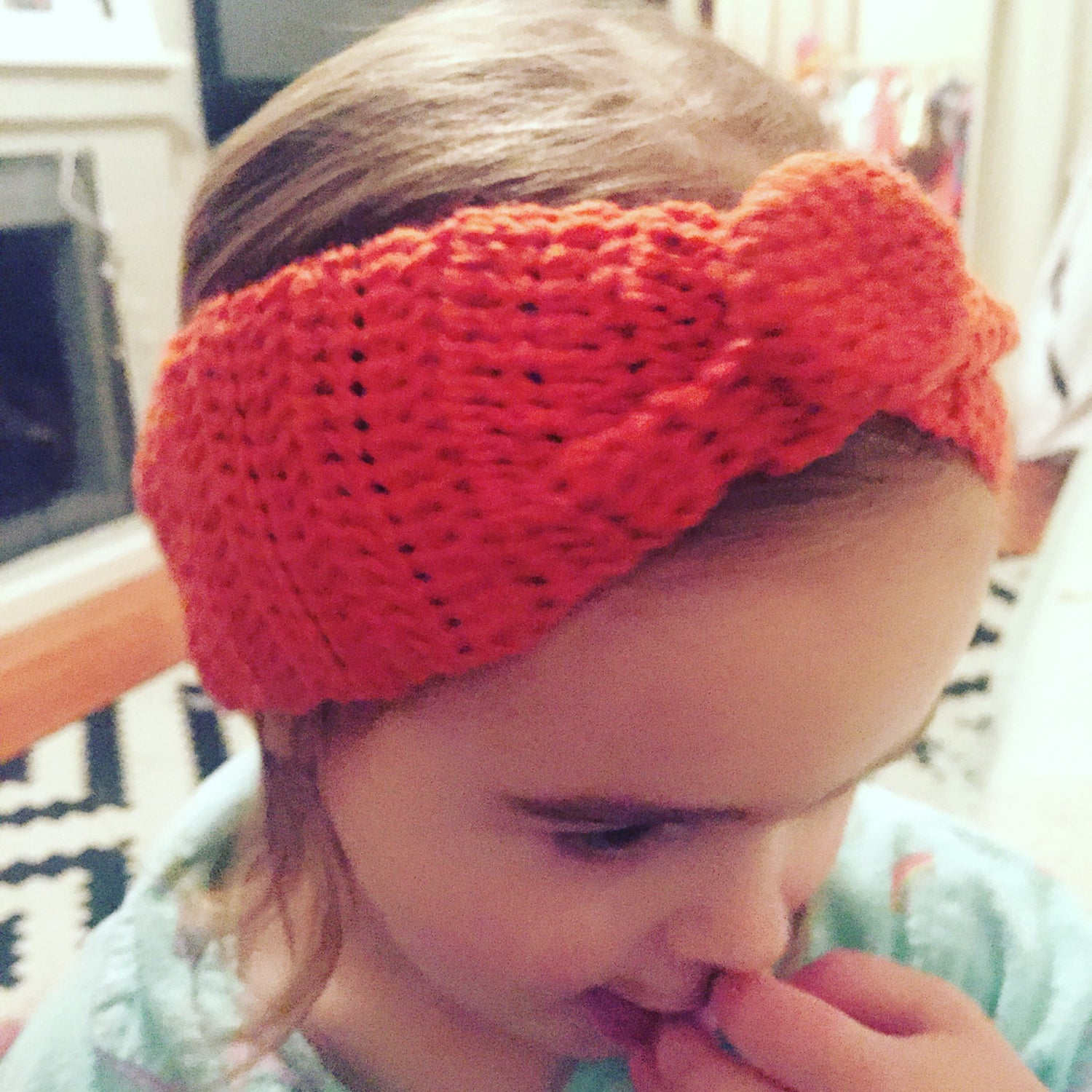 Image of Orange Crochet Wide Button headband