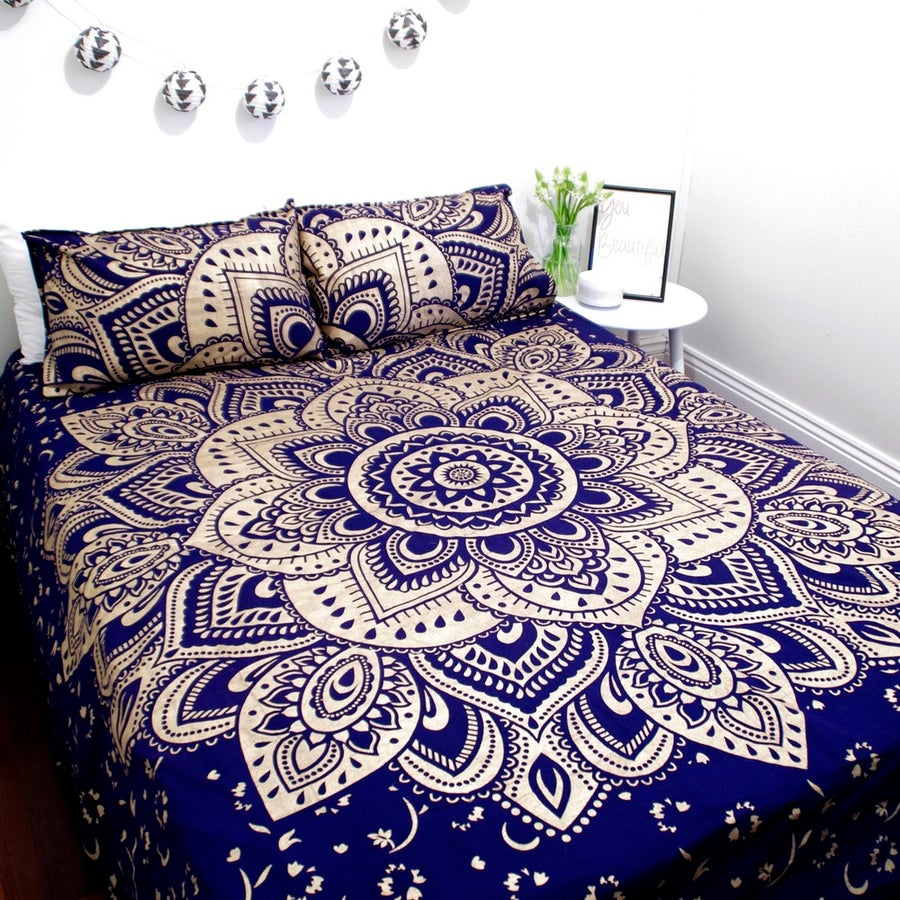 Image of Luxe Blue and Gold Mandala Throw or Throw Set from