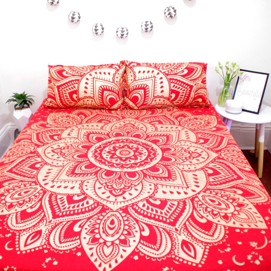 Image of Red and Gold Mandala Throw or Throw Set from