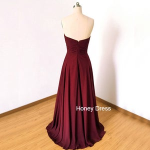 Image of Burgundy Chiffon Sweetheart Bridesmaid Dress,Ruffles Strapless Ruche Floor Length Long Prom Dress