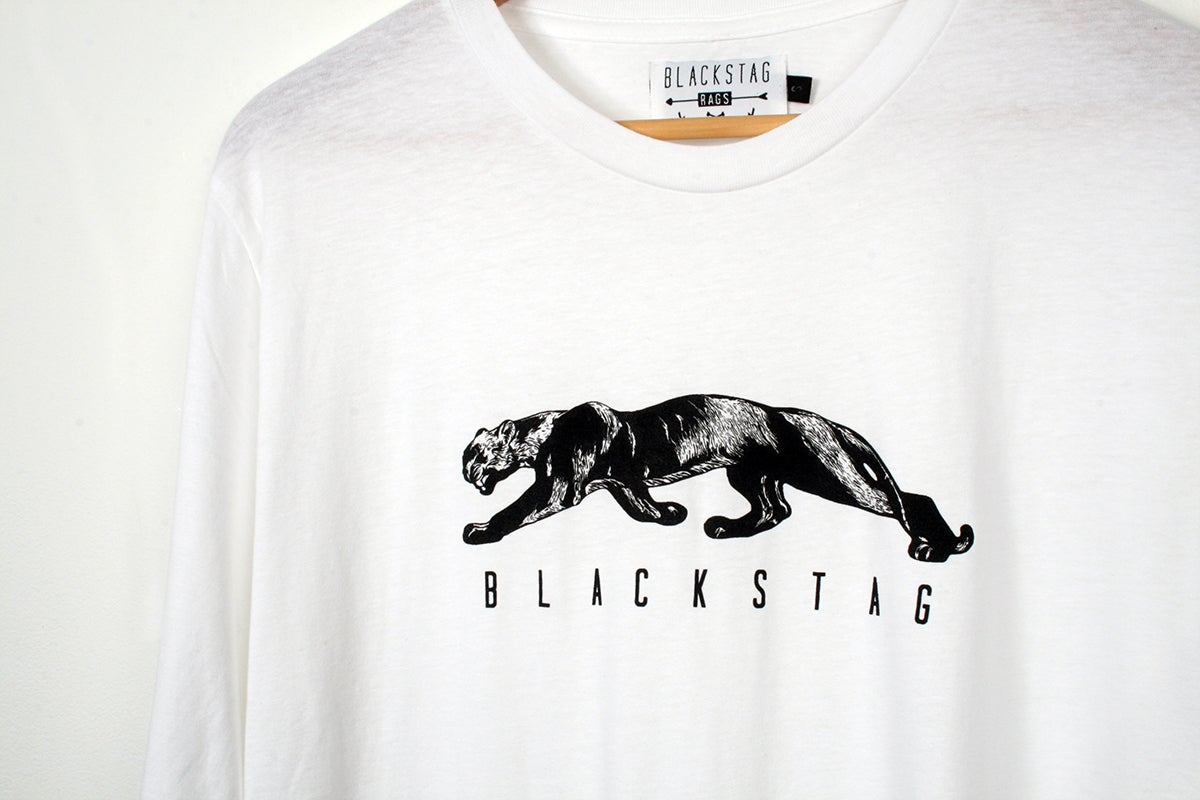 Image of Panther long sleeve white t-shirt