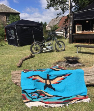 Image of Authentic Mexican Blanket 'Eagles Dare' in BLUE