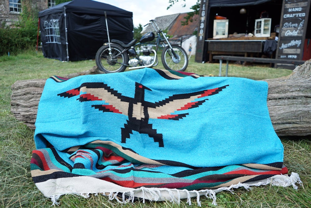 Image of PREORDER Authentic Mexican Blanket featuring 'Thunderbird' in BLUE