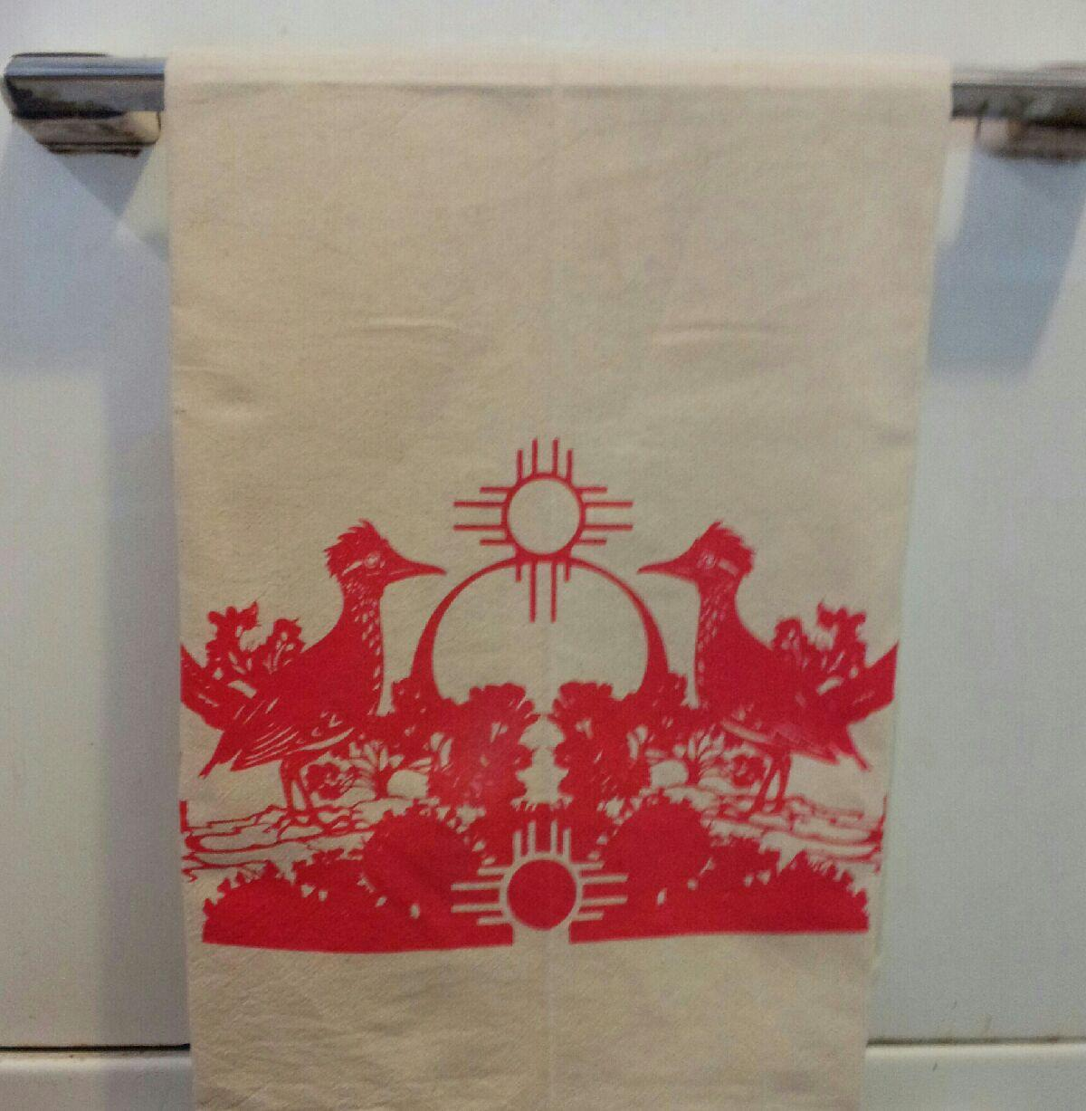 Image of Road runner and Zia Dishtowel - Available in brick red ONLY at this time.