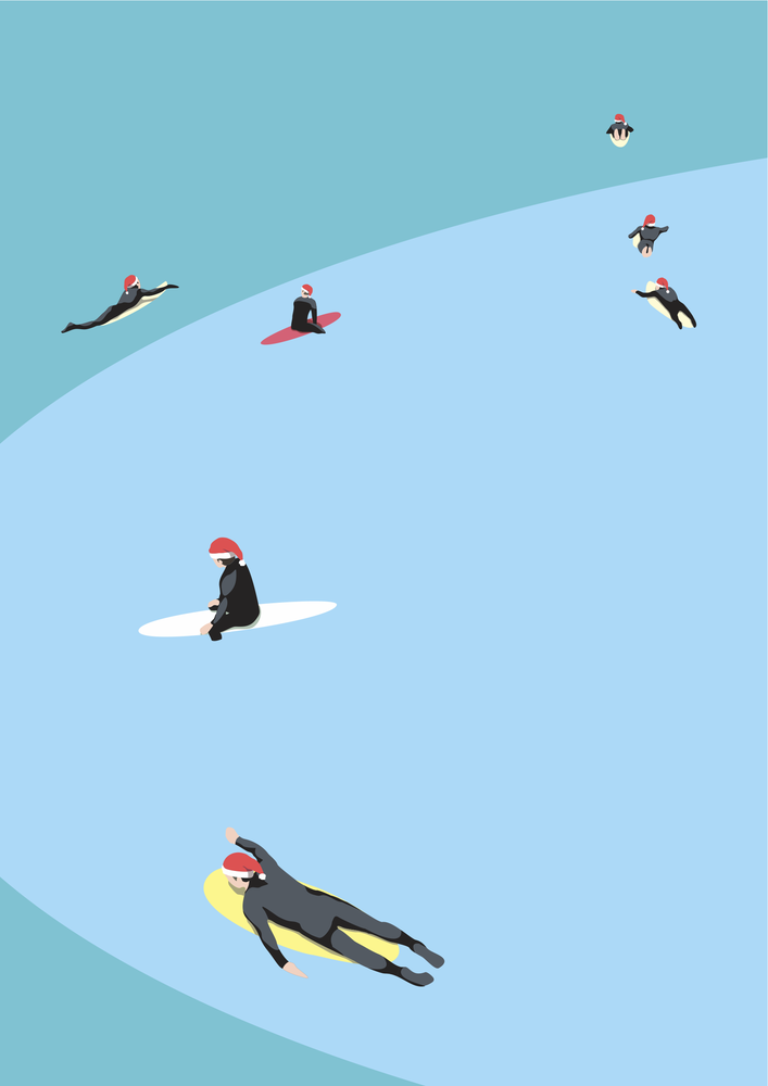 Image of Santa Surfers