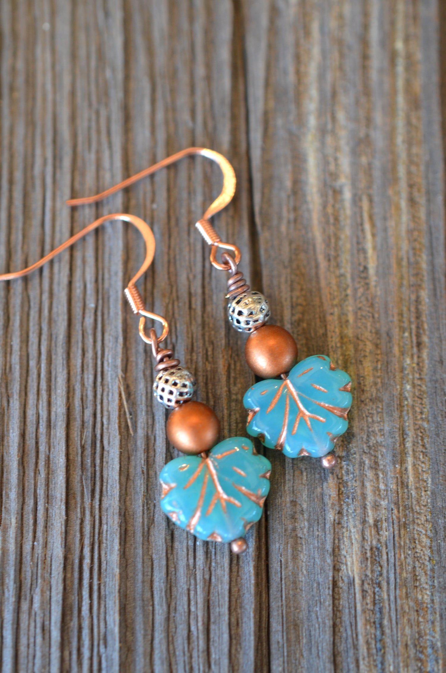 Copper & Leaf Earrings
