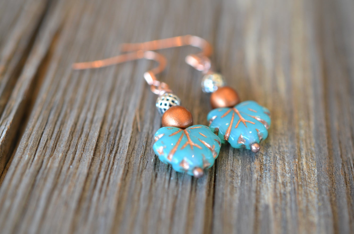 Image of Copper & Leaf Earrings