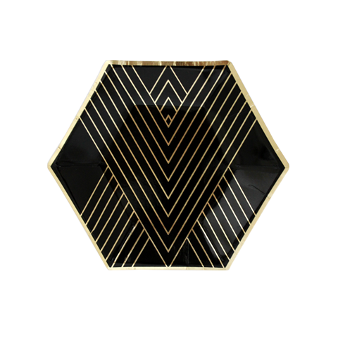 Image of Black Hexagon Small Party Plates