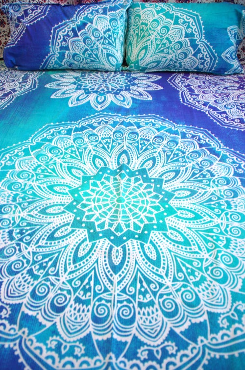 Image of Tie Dye Magic Eye Throw or Throw Set in Aqua and Blue from