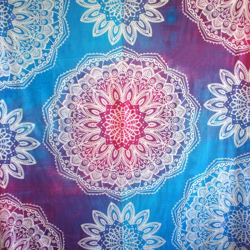 Image of Tie Dye Magic Eye Throw or Throw Set in Blue, Pink & Purple from