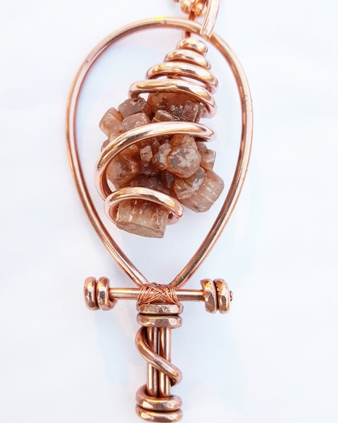 Image of Serpentine Wrapped Aragonite Star Cluster Ankh