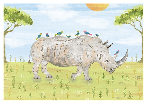 Image of 'Rescue our Rhinos' print - for the International Rhino Foundation