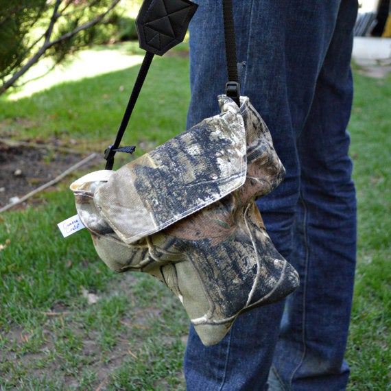 Image of Camo Camera Bag Padded Fitted For Men   Great for Canon Nikon Sony Pentax Cameras
