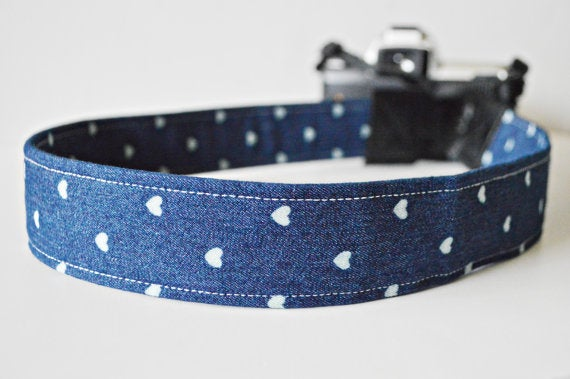 Image of Camera Straps SALE   Top Photographer Gift 2019   Made of Cotton Jean Hearts Free US Shipping