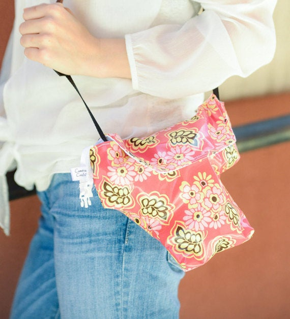 Image of Best Camera Bags for Travel Rain Slicky Camera Coat Brown Pink Floral   USA Handmade
