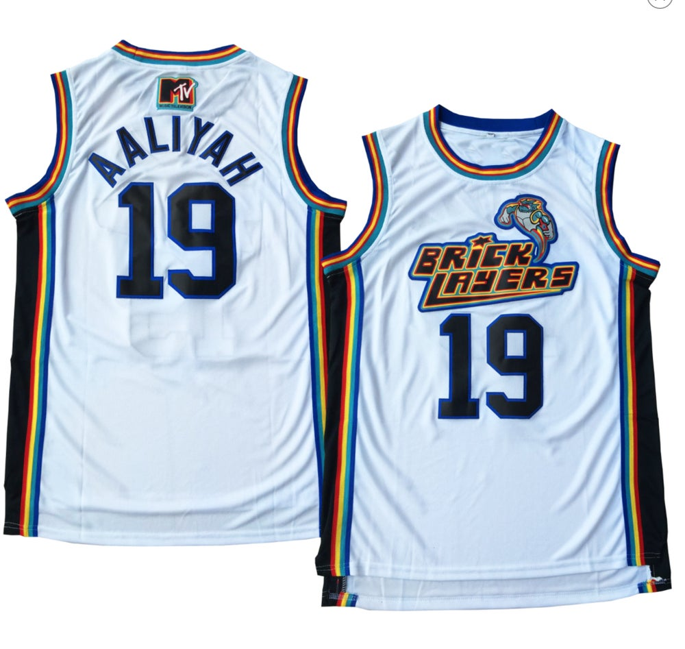 "Image of WHITE MTV ""AALIYAH"" BRICK LAYERS #19 BASKETBALL JERSEY"