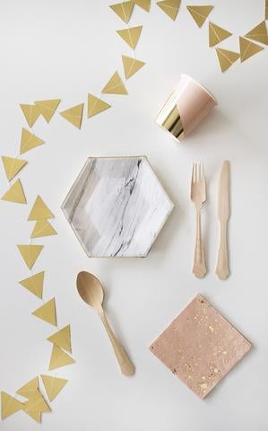 Image of Marble Hexagon Small Party Plates