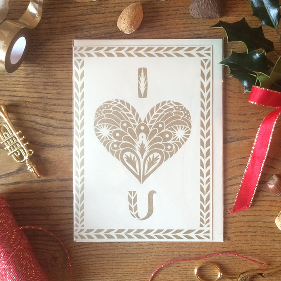 Image of 'I Heart U' Gold Screen Printed Greeting Card              - Other colours available -