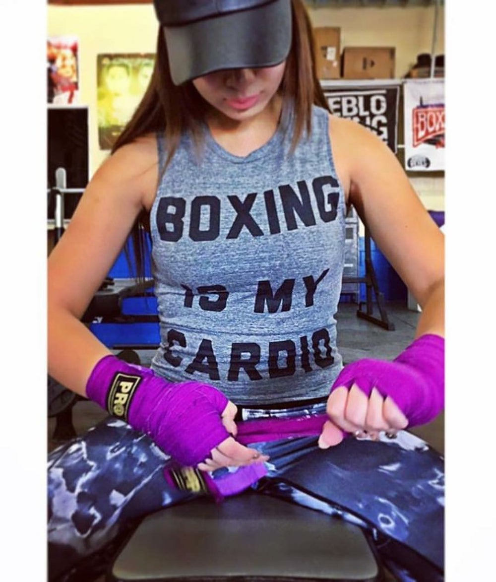 Image of Womens red Boxing is My Cardio t-shirts