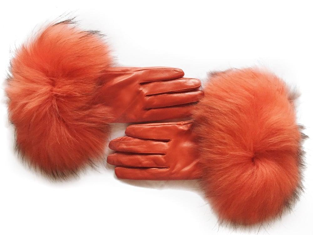 Image of Zermatt Leather Raccoon Fur Gloves
