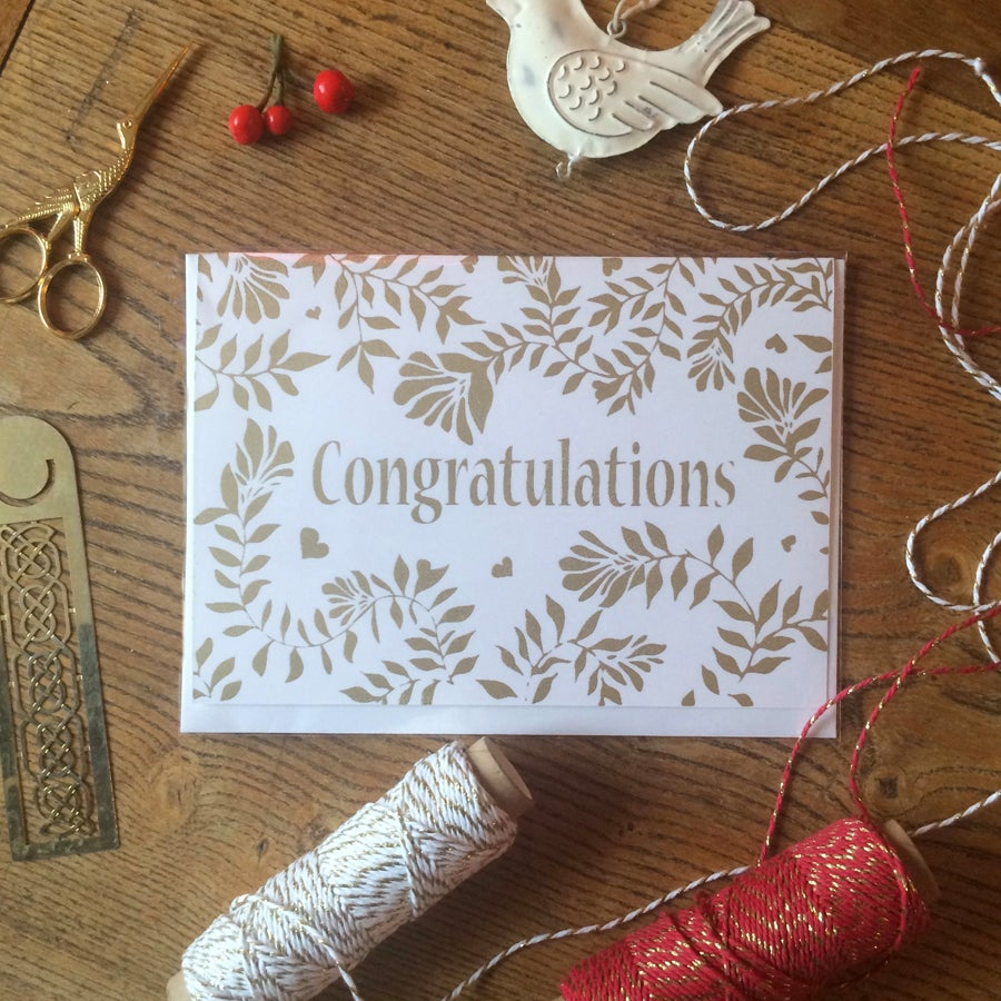 Image of Congratulations Screen Printed Greeting Card