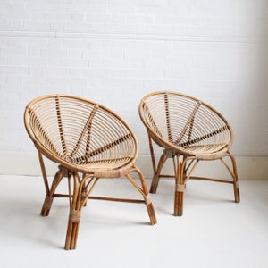 Image of midcentury Dutch cane chairs