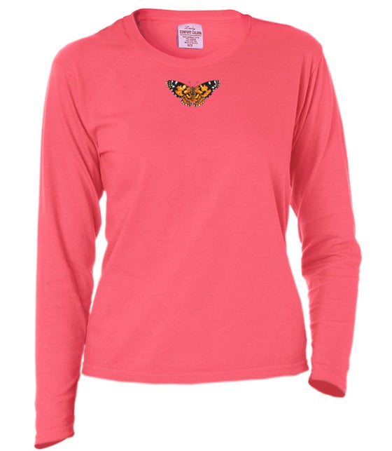 Image of Ladies Painted Lady Butterfly dyed longsleeve t-shirt