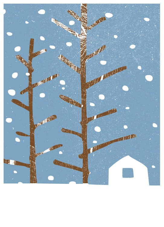 Image of Snowy Cabin Holiday Greeting Card - Blank Inside